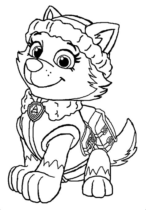 everest from paw patrol free colouring pages