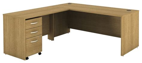 Oak L Shaped Computer Desk Bush Series C 3 L Shape Computer Desk In Light Oak Transitional Desks And Hutches By