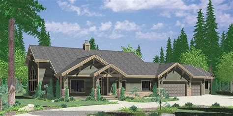 ranch house plan featuring gable roofs