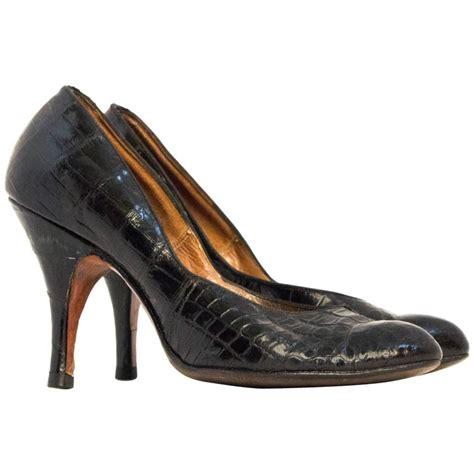 50s style high heels 50s black alligator high heels for sale at 1stdibs