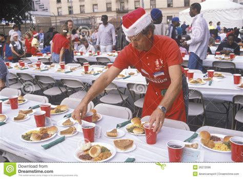 volunteer at christmas dinner for the homeless editorial