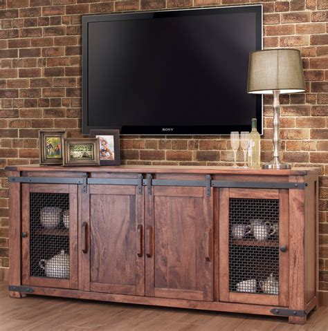 Wood Tv Cabinets With Doors Rustic 80 Quot Tv Stand Barn Door Rustic Tv Stand