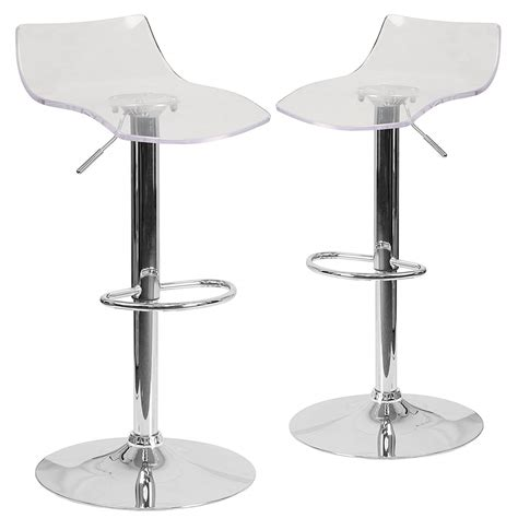 Clear Adjustable Bar Stools adjustable clear bar stools pack of 2 oxygen bar