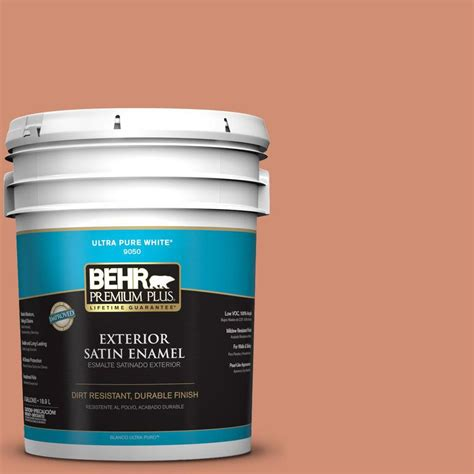 behr premium plus 5 gal m200 5 terra cotta clay satin enamel exterior paint 940005 the home