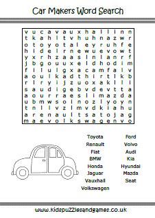 Car Types Word Search by Cars Puzzles And