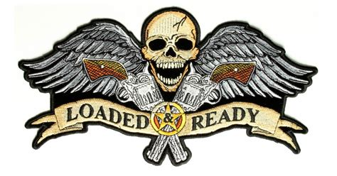 tattoo guns wings patch large novelty patches thecheapplace loaded and ready skull wings guns large back patch 2nd