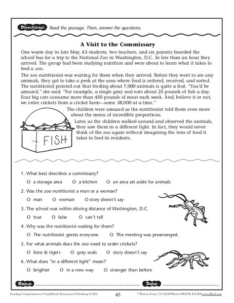 College Level Reading Comprehension Worksheets by Worksheets Comprehension Passages For Grade 4