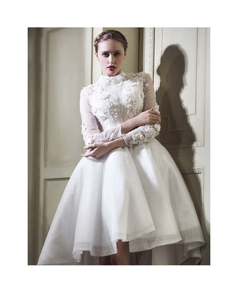 High Neck Sleeve A Line Dress lace high low wedding dresses with sleeves a line