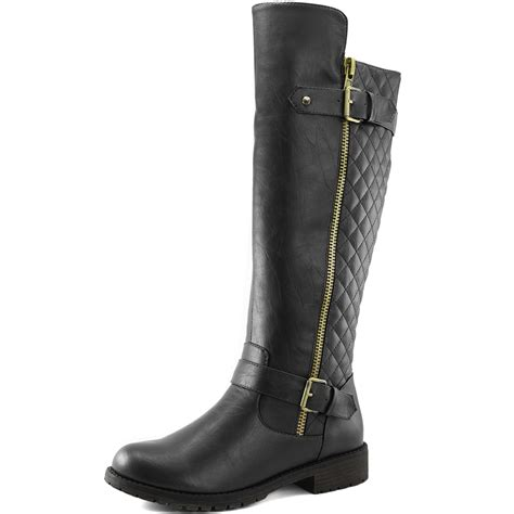 boots with pockets quilted toe combat rider knee high side pocket