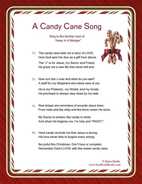 printable version of the legend of the christmas spider candy cane legend song pdf seed faith books