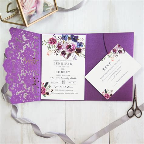 Purple Wedding Invitation Paper by Shades Of Purple Watercolor Floral Laser Cut Pocket