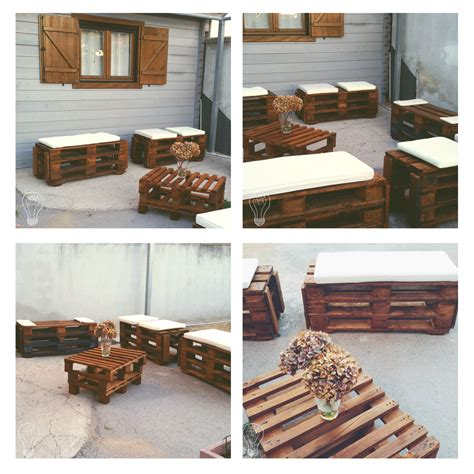 arredare con pedane di legno panchette e tavolo con bancali