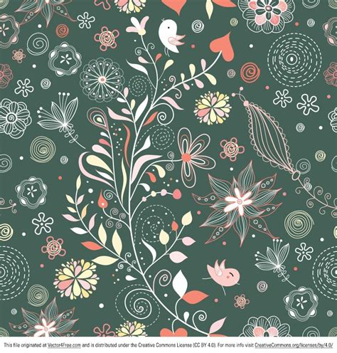 floral pattern background free vector free vintage floral pattern vector