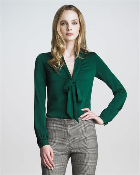 zoe natalie tie neck blouse in green lyst