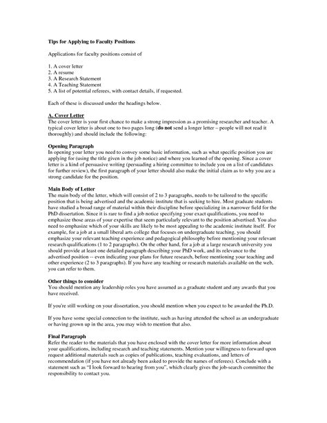 Cover Letter For Faculty Position by Sle Cover Letter For Professor Position Guamreview