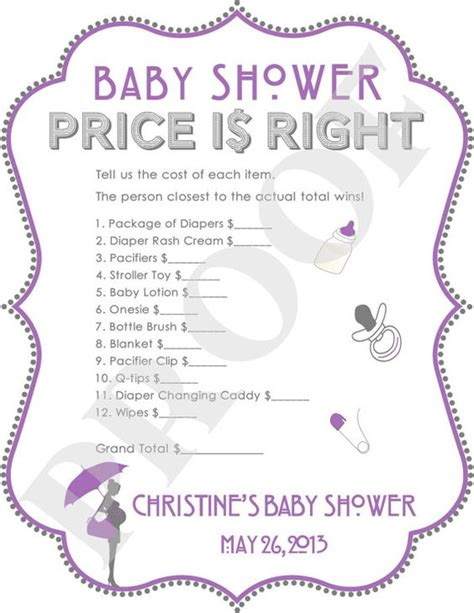 baby shower games ideas templates price is right baby shower game purple digital file jpeg