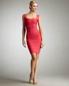 herv 233 l 233 ger square neck bandage dress in pink lyst