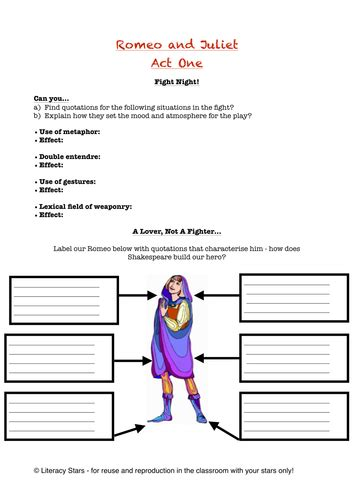 themes of romeo and juliet worksheet literacy stars s shop teaching resources tes