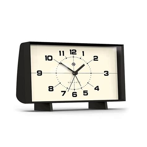 awesome Mid Century Modern Alarm Clock #5: Mid-Century_Retro_Alarm_Desk_Clock_-_Black_Rectangular_-_Newgate_Wideboy_WIDE453K_skew_1200x630.jpg?v=1555334974