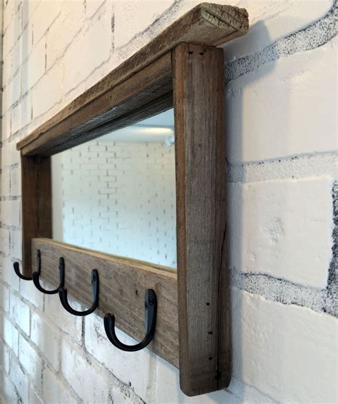 Handmade Wooden Mirrors - entryway mirror with four coat hooks rustic reclaimed