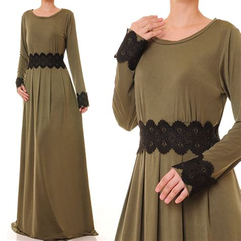 03 Abaya Maxi olive green dress jersey abaya maxi dress sleeve