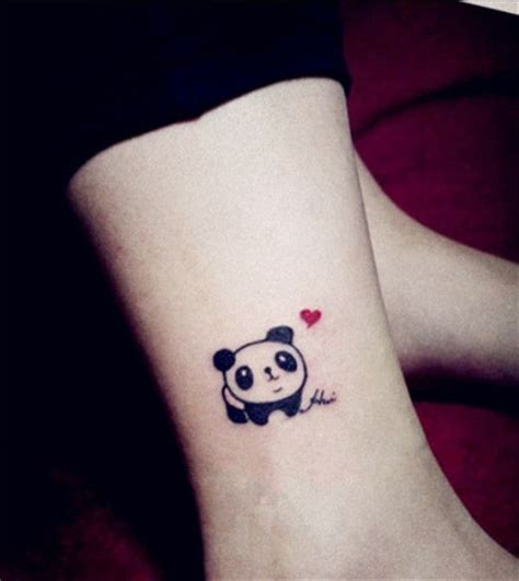 small heart tattoos on foot baby panda with small on ankle