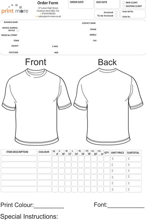 printable t shirt order form template t shirt order form template e commercewordpress