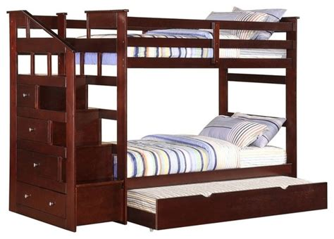 size bunk beds with trundle espresso size bunk bed with trundle storage