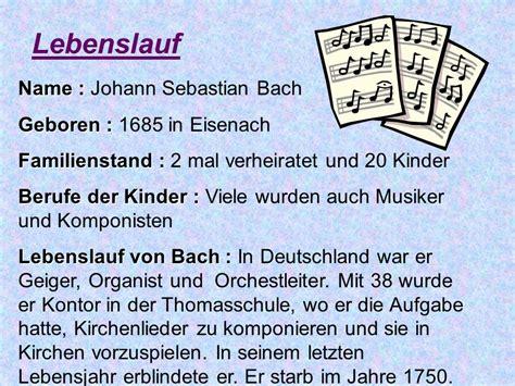 Lebenslauf 20 Jahre Berufserfahrung Johann Sebastian Bach Ppt Herunterladen