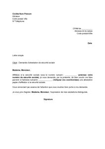 exemple gratuit de lettre demande attestation s 233 curit 233 sociale