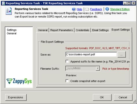csv format ssrs ssis report generator task zappysys