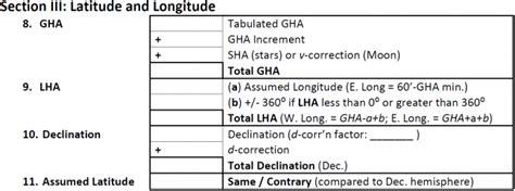 section iii latitude and longitude astronavigation