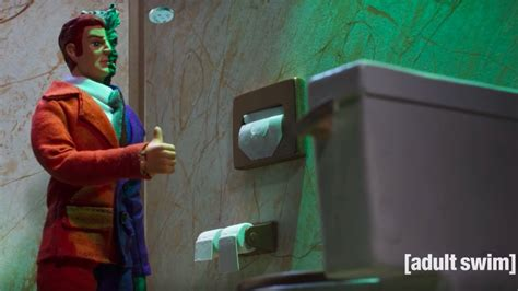 robot chicken bathroom two face takes a bathroom break in funny robot chicken