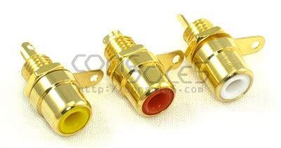 Rca Gold Set 436 set of 3 gold plated stereo av rca jacks yellow white panel mount solder type