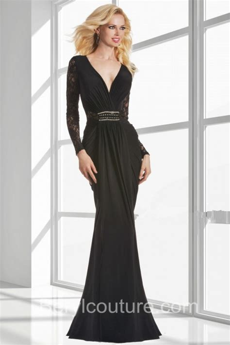 v neck lace evening gown mermaid v neck black chiffon lace sleeve evening