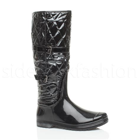 Womens Quilted Wellies by Womens Festival Rubber Quilted Calf Knee Boots Wellies Wellingtons Size Ebay