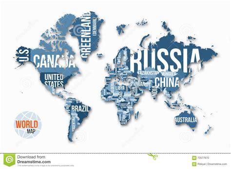 world map with country names vector vector detailed world map with borders and country names