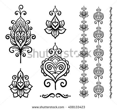 indian floral set ethnic mandala ornament vector henna set vector indian floral ornaments mandala stock vector