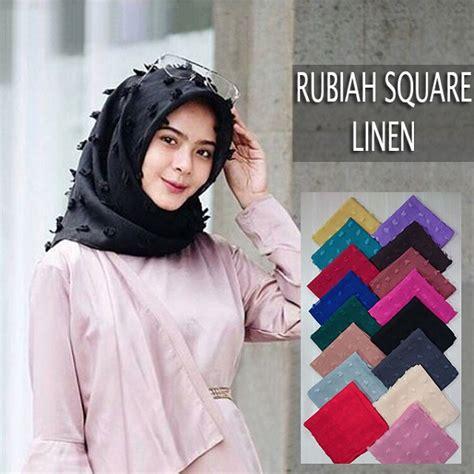 jilbab segi empat rubiah linen terbaru 2018 kekinian