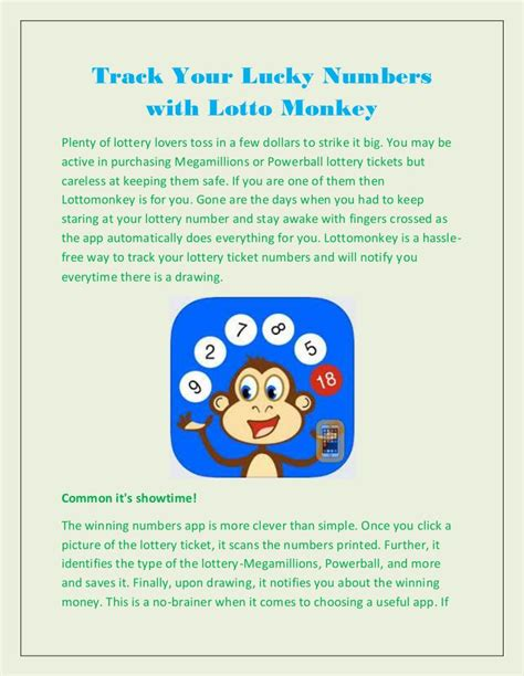 ppt track your lucky numbers with lotto monkey