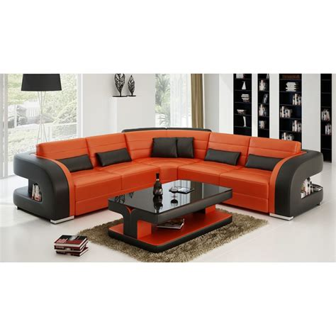 l shaped leather orange l shape leather sofa