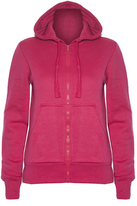 Jaket Zipper Hoodie Sweater U Hitam 4 womens plain hoody fleece knit zip up hoodies sweatshirt jacket top ebay