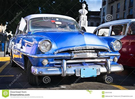 current time in plymouth classic blue plymouth in cuba stock photo image