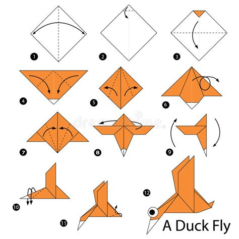 How To Make A Paper Duck Step By Step - step by step how to make origami a duck fly