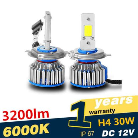 Lu Mobil Led H4 2 Cob 2pcs bright 2pcs auto car cob h4 replacement led headlight kit bulb hi lo beam 30w 3200lm
