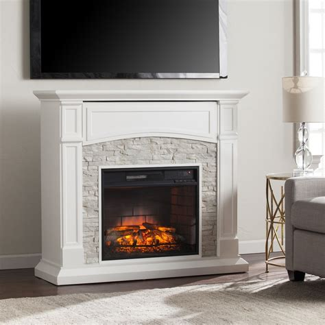 White Electric Fireplace Lowes by Shop Boston Loft Furnishings 45 75 In W Crisp White Mdf