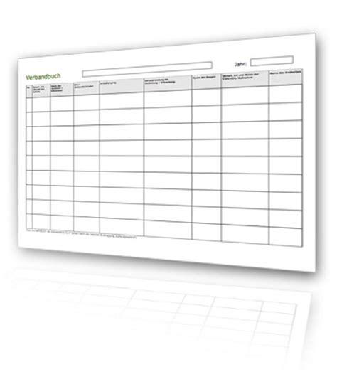 Tabellen Vorlagen Muster Verbandbuch Kostenlos Als Pdf Verbandbuch