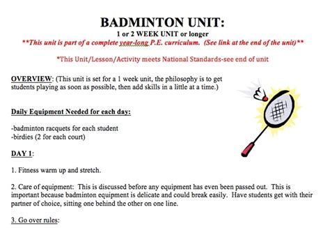 Floor Hockey Unit Plan by 2 Week Badminton Unit This Free Badminton Unit Includes