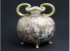 Antique Nippon Vase Gold Floral Overlay Double Handled 4 ... Linens Things