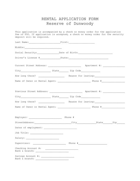 rental application form in word and pdf formats